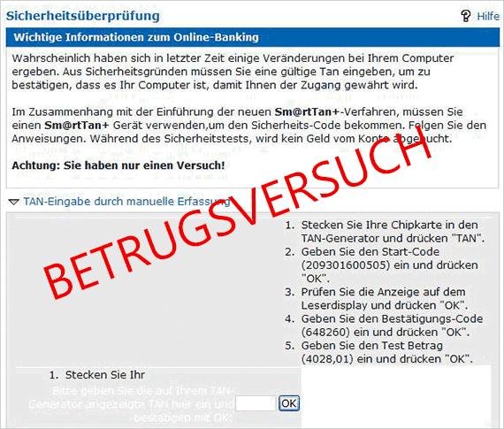 Ansicht einer Phishing-Nachricht, Vorwand: Sicherheitsüberprüfung